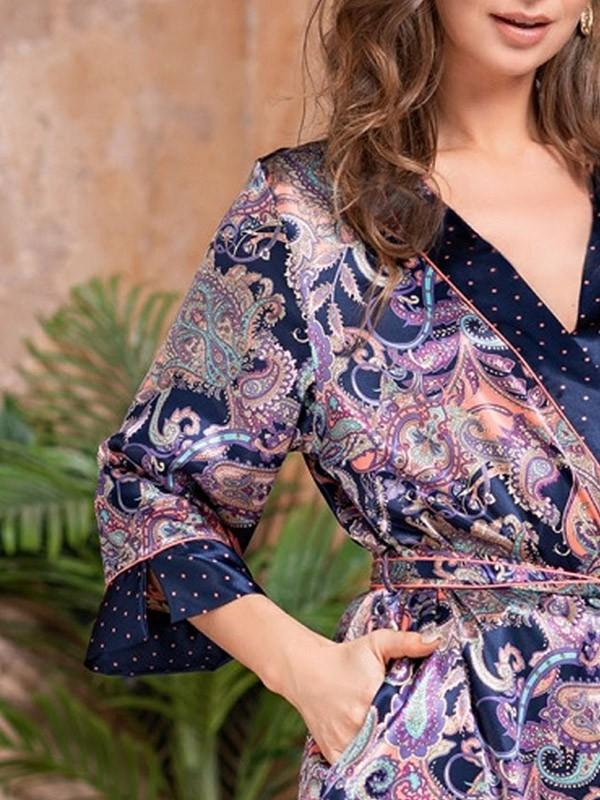 "MiaMia šilkinis chalatas ""Etro Dark Blue Ornament Print"""